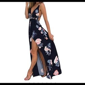 Dresses & Skirts - Deep plunge backless maxi dress